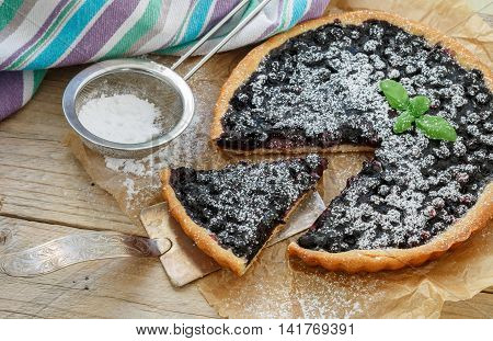Homemade Crispy Tart With Fresh Blueberries And Powdered Sugar. Selective Focus