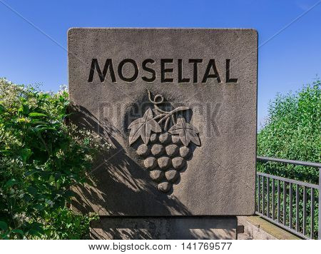 Mosel Valley Sign On The Highway Bridge Over The Moselle
