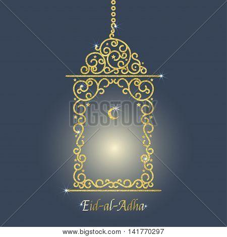 Vector illustration of glowing golden lantern. Isolated on blue background. Eid al adha mubarak islamic celebration card.