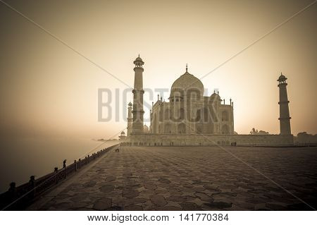 Vintage Image Of Taj Mahal At Sunrise, Agra, India