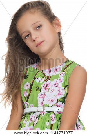 Closeup portrait of beautiful fair-haired little girl - Isolated on white background