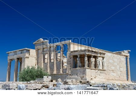 Porch of the Erechtheion with six Caryatids or karyatides at in Acropolis at Athens.