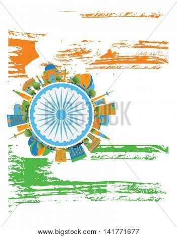 Happy Indian Republic Day Banner. Vector illustration. Concept with indian Landmarks and copy space. Buildings on indian flag.