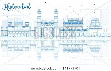 Outline Hyderabad Skyline with Blue Landmarks and Reflections. Vector Illustration. Business Travel and Tourism Concept with Historic Buildings. Image for Presentation Banner Placard and Web Site.