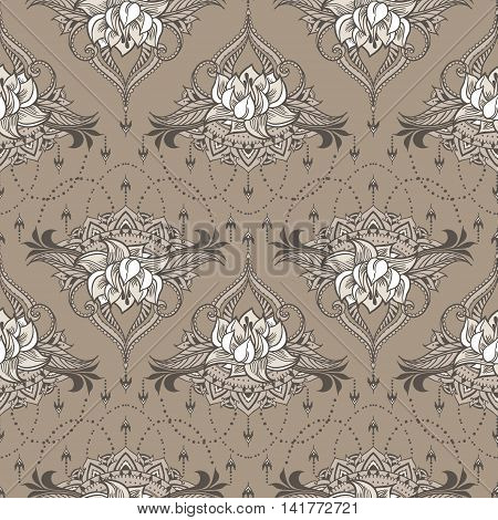 Hand-drawn Seamless Pattern With Lotus In East Style