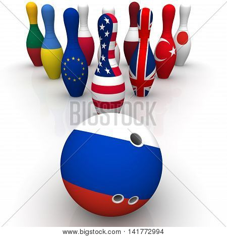Geopolitics as a bowling game. Bowling Ball in colors of the flag of the Russian Federation and skittles with a picture of the flags of other countries. Geopolitical confrontation concept. Isolated. 3D Illustration