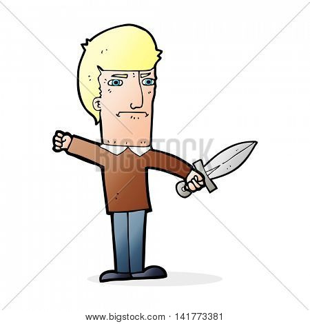 cartoon man holding a dagger
