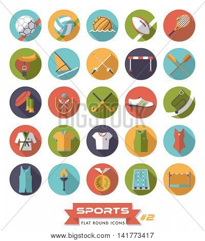Collection of sports icons, flat design, long shadow. Icon set 2.