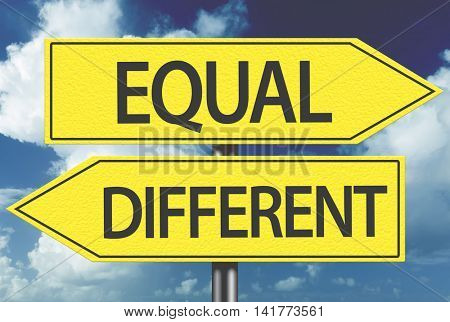 Equal x Different yellow sign