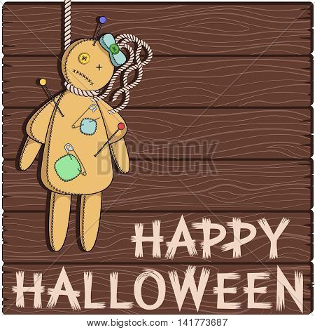 Happy Halloween. Card with a voodoo doll.