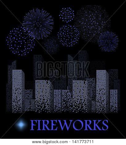 Blue Firework Show On Night City Landscape Background. Vector Illustration