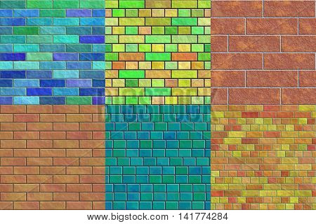 Set of brick wall seamless generated textures