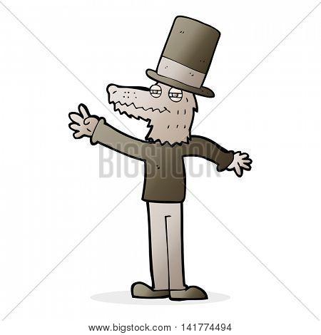 cartoon smartly dressed werewolf