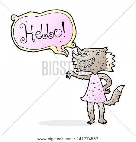 caroton werewolf woman saying hello