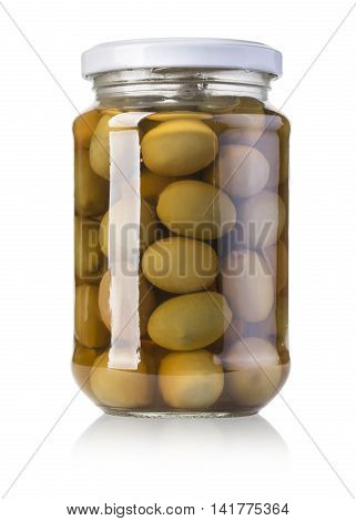 Green olives preserved in bank bottle with clipping path