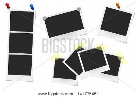Set Of Realistic Vector Photo Frames On Sticky Tape, Pins And Rivets Isolated On White. Template Pho
