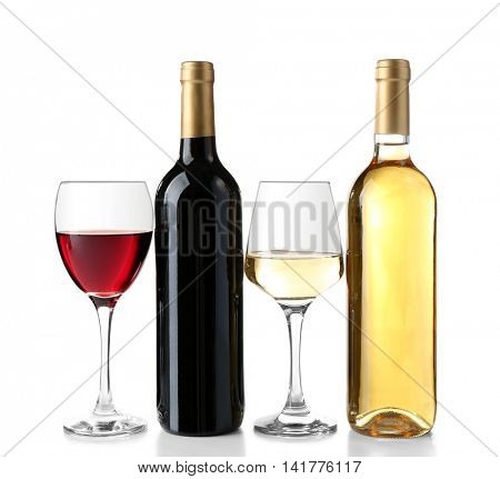 Two bottles and glasses with different wine isolated on white