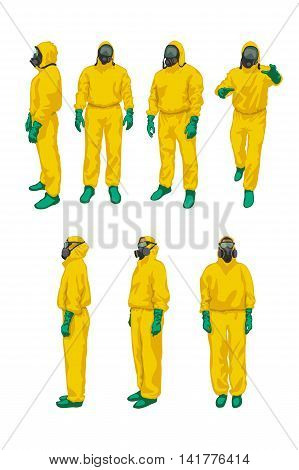 illustration of set man and woman in yellow biohazard protective siuts on white background