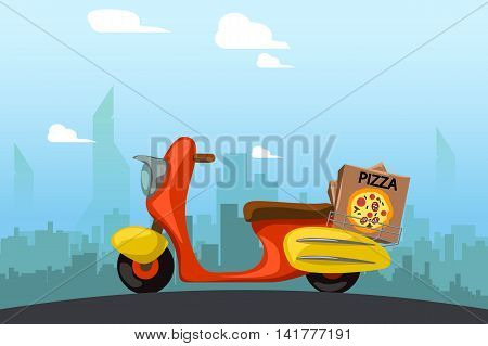 illustration of red scooter delivery with pizza box with city on background
