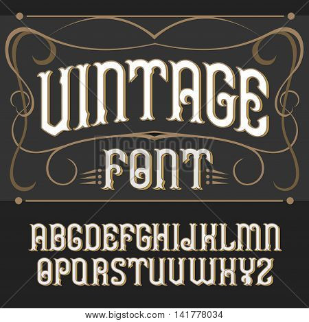 Vector vintage label font on a dark backround. Label font.
