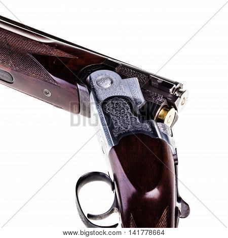 Loaded Shotgun Breech On White