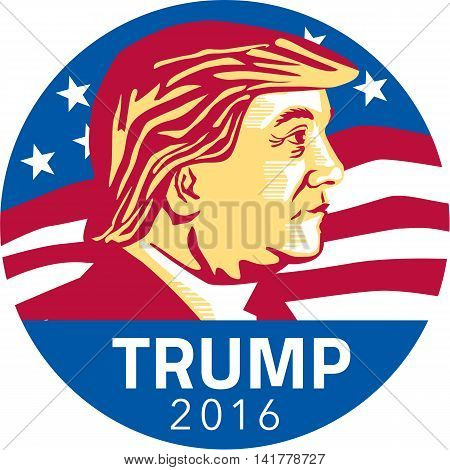 August 8, 2016: Illustration showing American Republican president 2016 candidate Donald John Trump with stars and stripes flag in background set inside circle done in stencil retro art style.