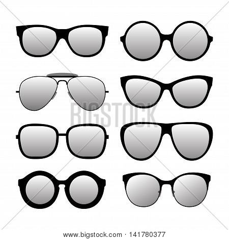 Different forms fashionable sunglasses. Types sunglasses. Vector