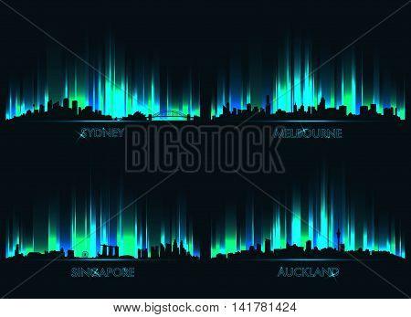 Neon сity skyline Sydney Melbourne Singapore and Auckland