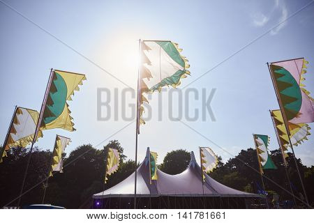 Flags And Marquee At Outdoor Music Festival