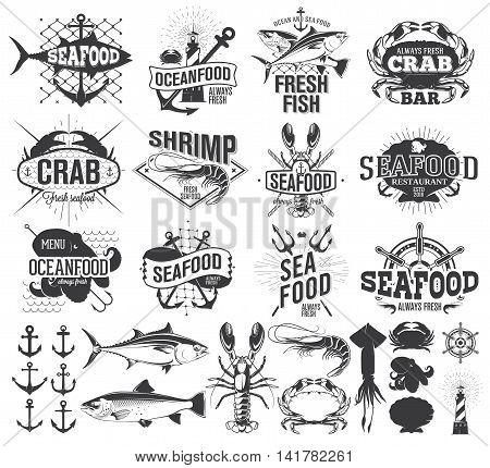 Seafood labels logo and illustration design elements