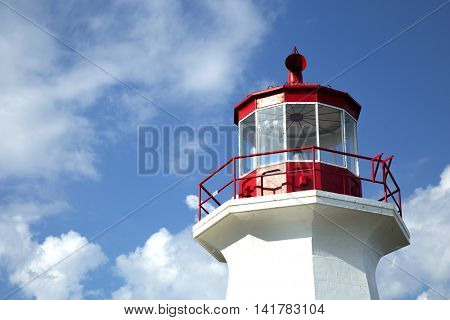 The Cap Gaspe lighthouse in Gaspesie, Quebec, Canada during summer season
