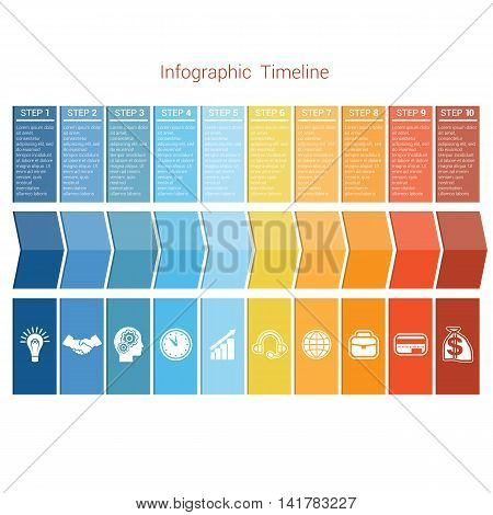 Template Timeline Infographic colored arrows numbered for ten position can be used for workflow banner diagram web design area chart