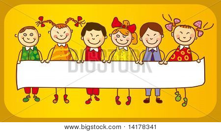 Six Kids with sign