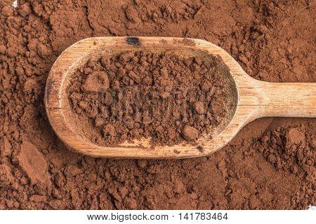 Cocoa powder into a spoon over a cocoa background
