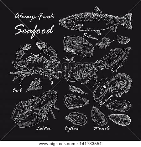 Vector vintage seafood restaurant illustration. Hand drawn chalkboard banner. Great for menu, banner, flyer, card, seafood business promote.