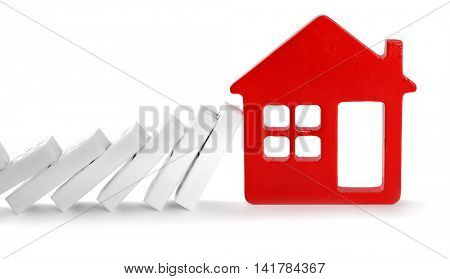 Dominoes with house shape, isolated on white
