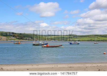 boats moored on the River Teifi, Wales
