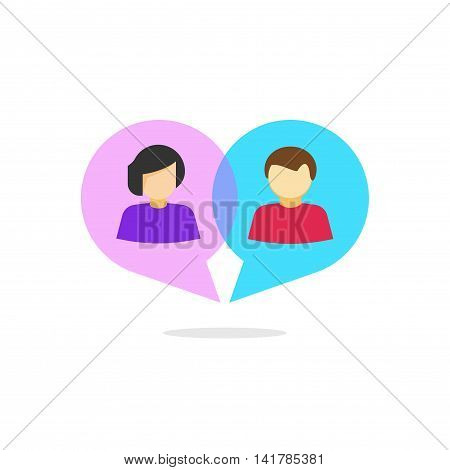 Woman and man relationship vector concept, flat cartoon abstract people in heart shaped bubble speech chatting logotype, love relation communication, dating service logo, online dialog, isolated