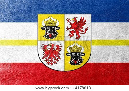 Flag Of Mecklenburg-western Pomerania With Coat Of Arms, Germany, Painted On Leather Texture