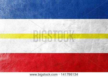 Flag Of Mecklenburg-western Pomerania, Germany, Painted On Leather Texture