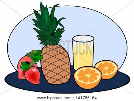Two strawberries, a pineapple, an orange, and a glass of juice.
