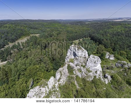 Limestone Rock In Jura Krakowsko-czestochowska. Poland. View From Above.