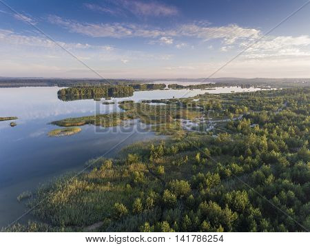 Sunraise Morning Summer Time Lake And Green Forest, In Poland Lanscape. View From Above.