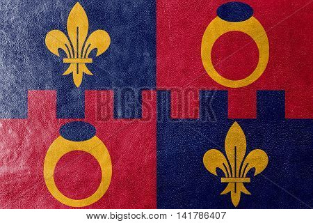 Flag Of Montgomery County, Maryland, Usa, Painted On Leather Texture