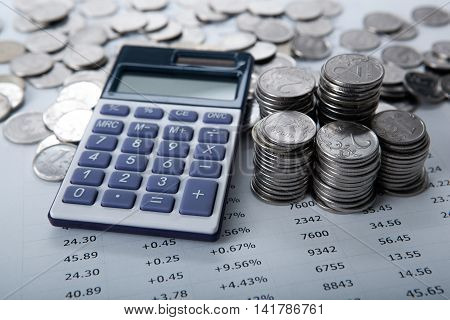 stacks of Russian rubles with calculator close up