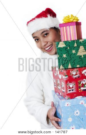 Asian Woman Carrying Gifts