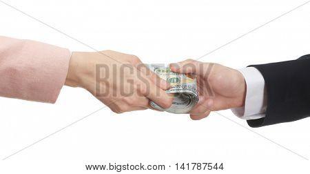 Businessman receiving bribe. Corruption concept