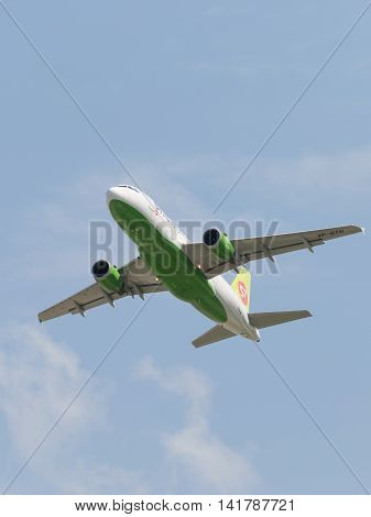 Moscow region - 31 July 2016: A passenger plane Airbus A-319-114 S7 Airlines flies to Moscow's Domodedovo airport July 31 2016 Moscow Region Russia