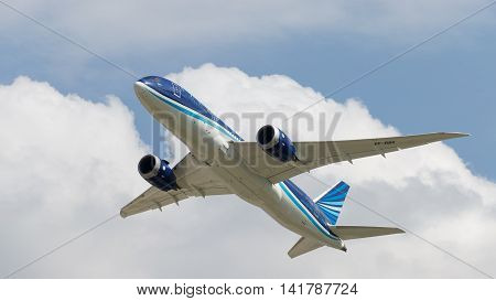 Moscow region - 31 July 2016: Big passenger airplane Boeing 757-8 AZAL Azerbaijan Airlines flies to Moscow's Domodedovo airport July 31 2016 Moscow Region Russia