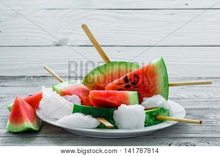 Delicious Fresh Watermelon. Ice Cream With Watermelons